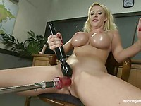 Cougar Courtney Taylor shows off her shaved pink pussy perfect for banging and drilling.