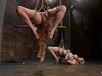 Sexy blondes Katie Kox and Darling get tied up, squeezed, treated like whores and they love it.