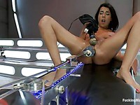 Hot Lou Charmelle gets her tight wet delicious holes double drilled with the sex device.