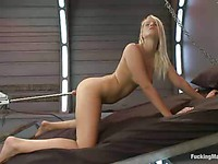 Sexy chick Vanessa Cage stimulates her throbbing clit while the machine screws her wet cunt.