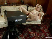 Milky blonde Rylie Richman spreads her soft legs so the machine can screw her deep and hard.
