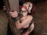 Liv Aguilera chained to a pole and getting her hot body stimulated hardcore while moaning loudly.