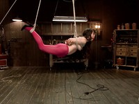 Milcah Halili bound with ropes and getting her slit stimulated and vibrated during bondage.