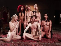 Cherry Torn and her femdom friends dominate and tease a good looking dude and his hot cock.