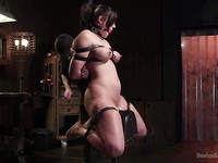Busty Penney Play tied and getting her privates kneaded and used up by a nasty bondage master.