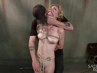 Hot Jeze Belle is bound and extremely molested with rough pleasuring with various tools.