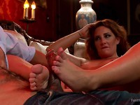Exotic Savannah Fox pleases her man with some dirty dancing and then she gives him a footjob.