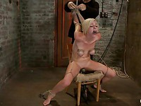Rylie Richman tied to a chair getting vibrated and stimulated during bondage after sucking cock.