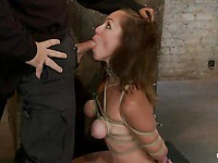 Isis Love sucking cock after her body is broken and stimulated in hardcore and nasty bondage.