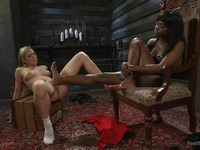 Fetish lovers Bailey Blue and Ana Foxxx using their hot feet while rubbing and stimulating slits.