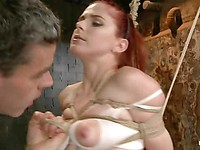 Hot redhead Penny Pax gets her shaved milky soft pussy and tight butt hole drilled with a toy.
