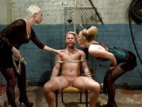 Lorelei Lee and Mona Wales making a FemDom's cock rock hard while teasing and punishing.
