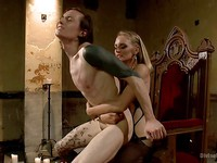Mona Wales gets kinky toys to push inside her FemDom's cock hole making him moan and squirm.