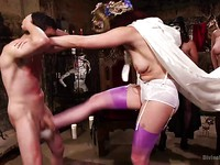 Bella Rossi and her FemDom bitches getting in on hardcore with a male slave while hitting it on.