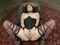 Dark haired babe Holly Michaels spanked and made wet just in time to have hot, rough sex.