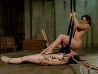 Freya French stretched and getting her whole body in hardcore bondage with Lea Lexus.