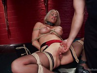 Holly Heart in straps while deep-throating cocks and getting stretched and used up during bondage.