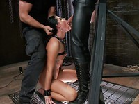 India Summer's tight, slim body is wrapped in chains and ropes while she is used up in rough sex.