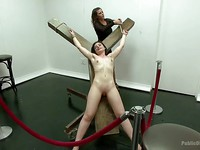 Naughty men watch petite Amy Faye in rough BDSM getting stretched and teased by dreamy Ariel X.