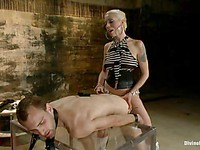 Sexy Lorelei Lee gags a man and punishes him while stimulating and teasing in femdom.