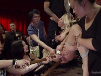 Blonde Zoey Portland and fetish lover Lea Lexis in hardcore, metal bondage during stimulation.