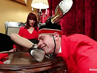 Maitresse Madeline makes a poor bell boy into kinky and hardcore femdom after stimulation.