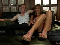 Vivian Vista getting her hands cute feet all around a fetish dude's cock while jerking him off.